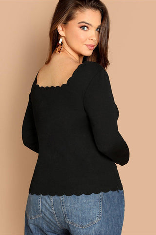 Plus Size Sweetheart Trim Collar Long Sleeve Top