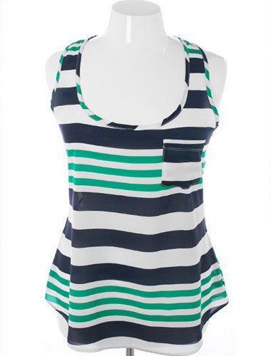 Plus Size Adorable Nautical Stripe Green Tank