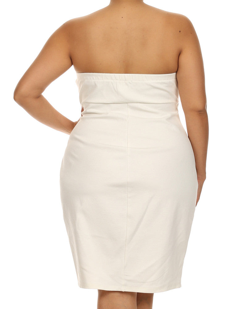 Plus Size Love Spell Plunging Neckline White Dress