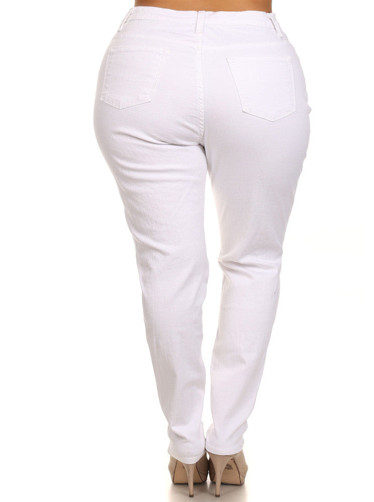 Plus Size Hot High Waist Slashed White Jeans