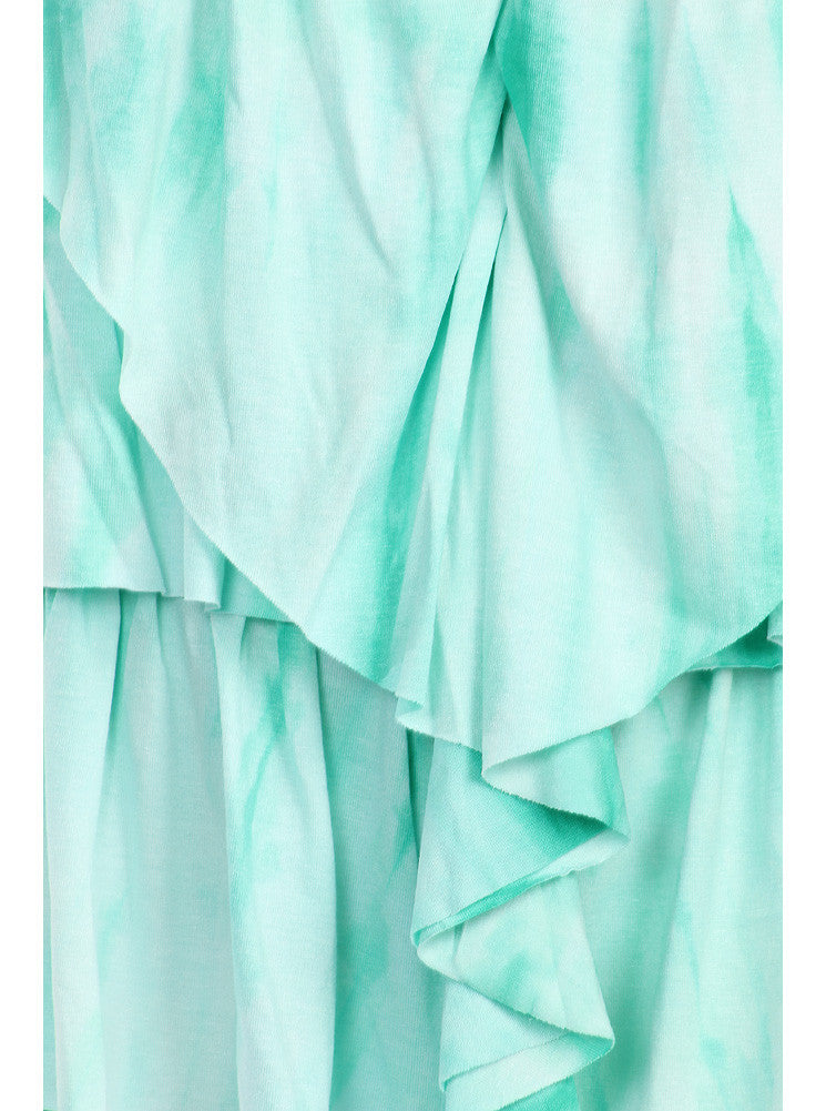 Plus Size Flirty Ruffles Green Tie Dye Top