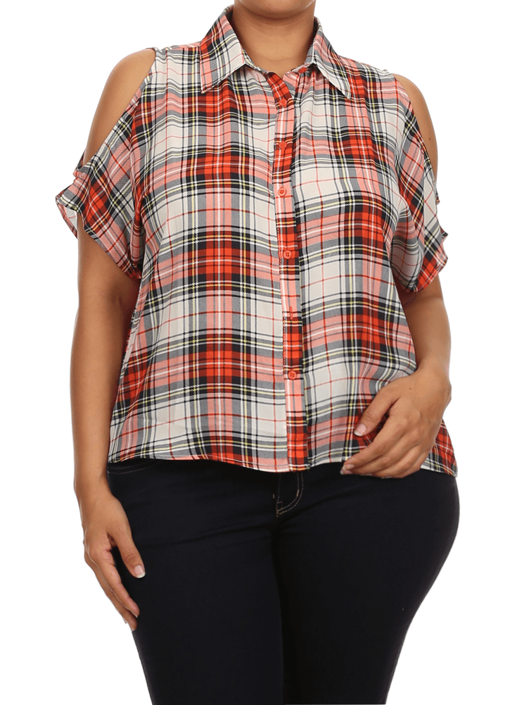 Plus Size After Party Plaid Orange Boxy Top