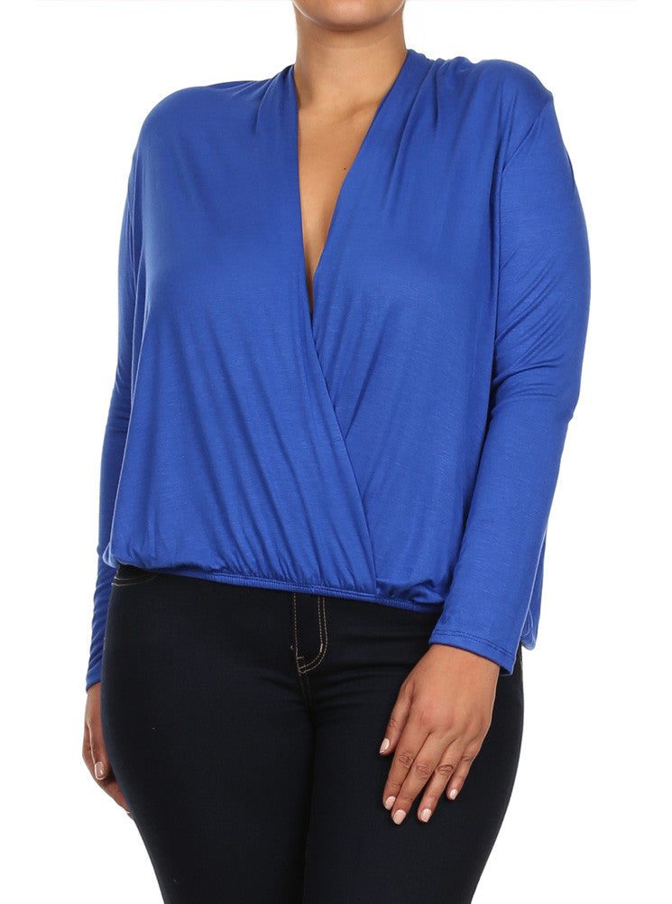 Plus Size Open Cross Over Front Blue Top