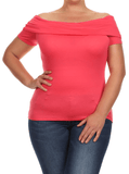 Plus Size Coquette Off the Shoulders Pink Top