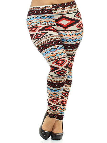 Plus Size Aztec Print Tan Leggings