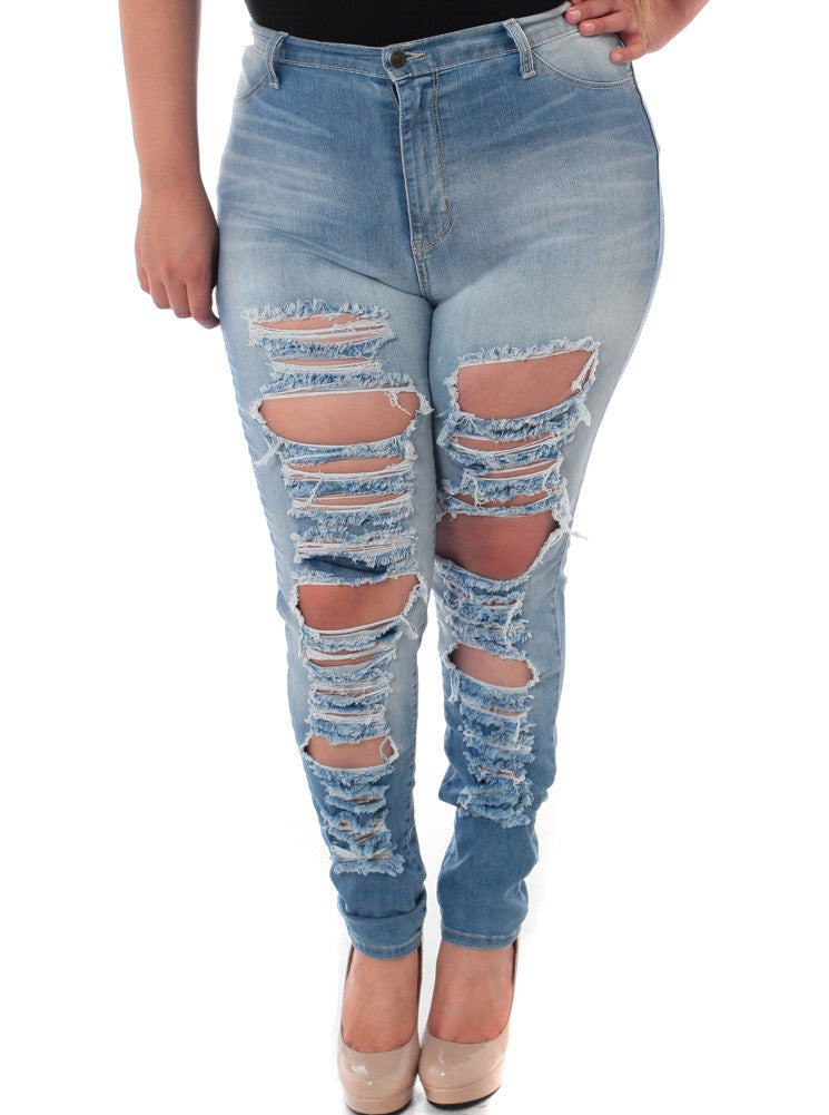 Plus Size Ripped Designer Light Denim Jeans
