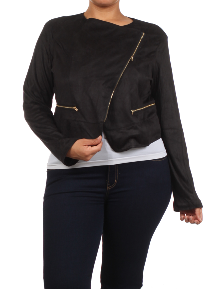 Plus Size Chic Side Zipper Black Velour Jacket
