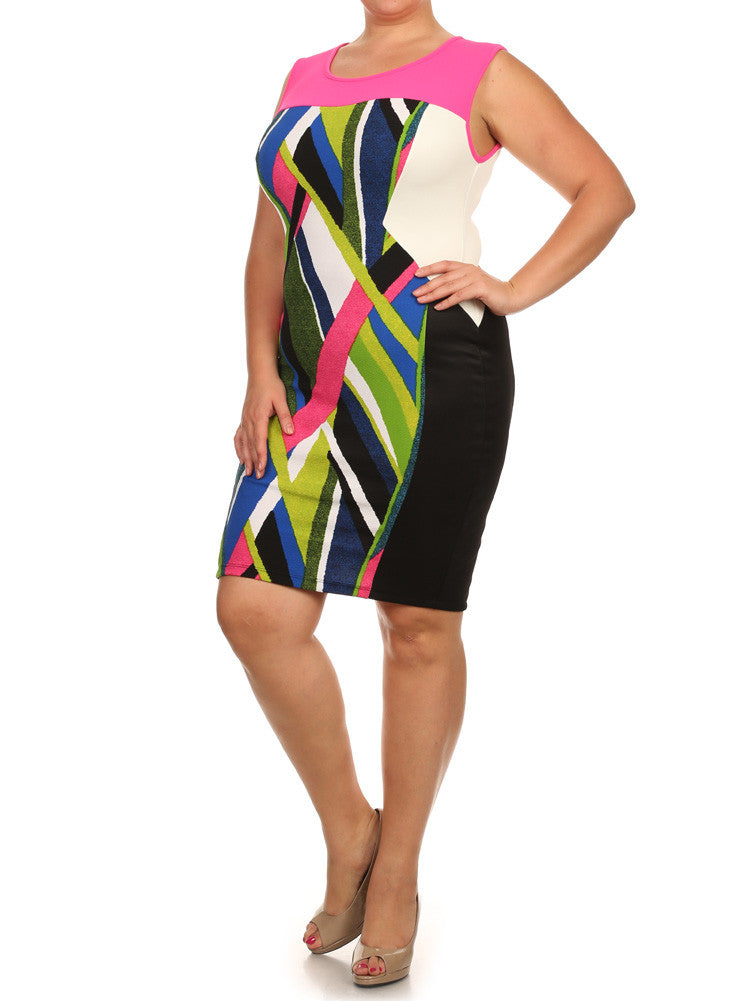 Plus Size Mod Art Strokes Pink Colorblock Dress