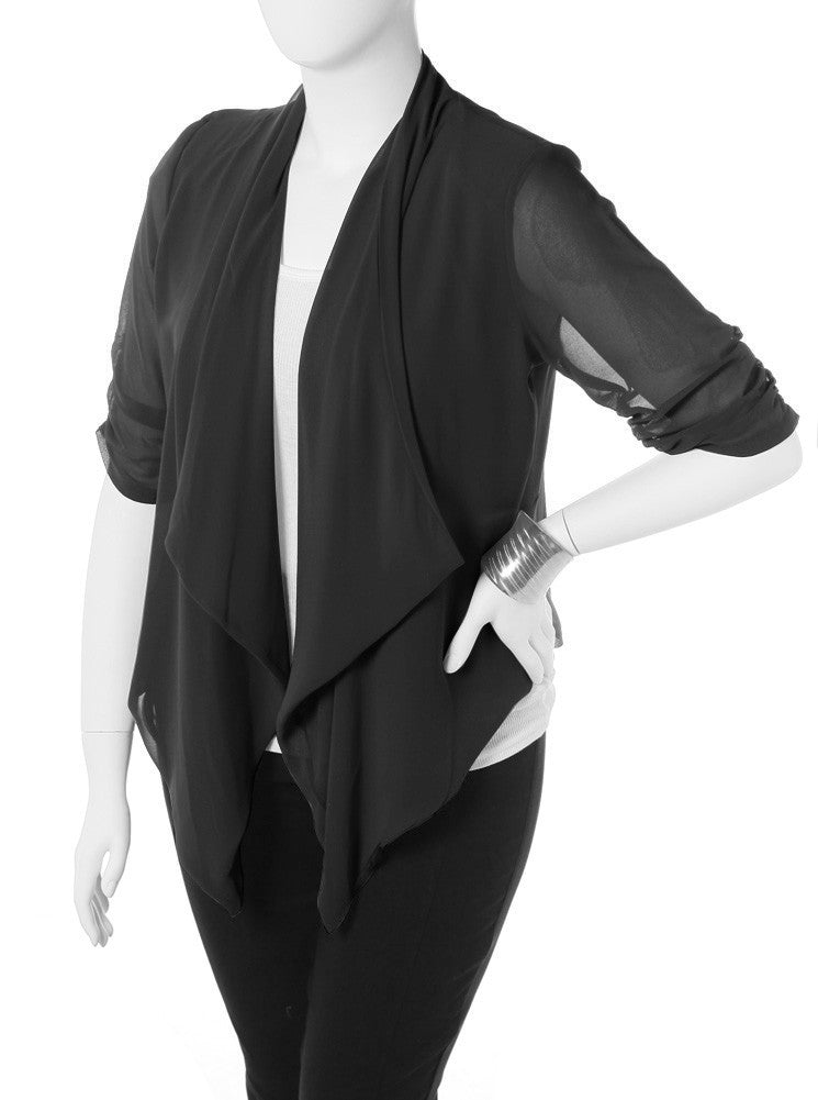 Plus Size Open Sheer Black Cardigan
