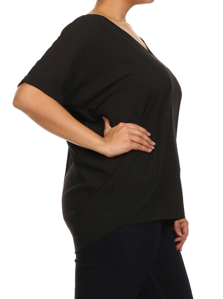Plus Size First Impression Chiffon Black Blouse