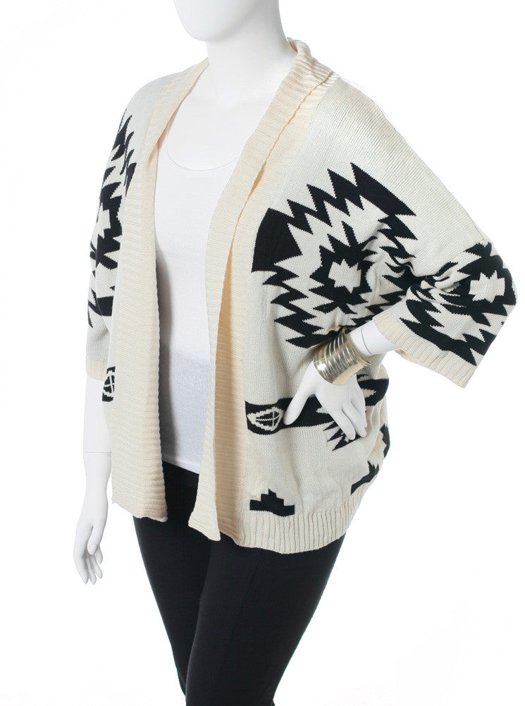 Plus Size Open Front Aztec Cream Knit Cardigan