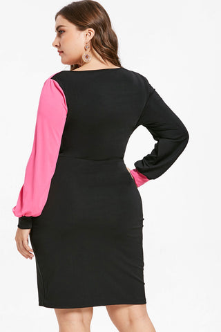 Plus Size Sexy Two Tone Contract Bodycon Surplice Dress