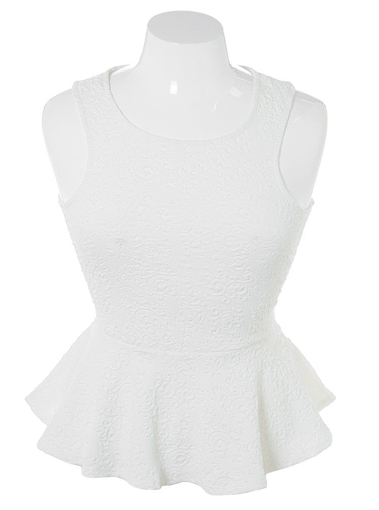 Plus Size Textured Victorian Peplum White Top