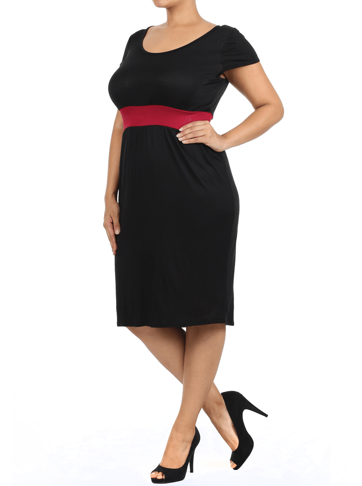 Plus Size Chic Contrast Waist Band Burgundy Midi Dress