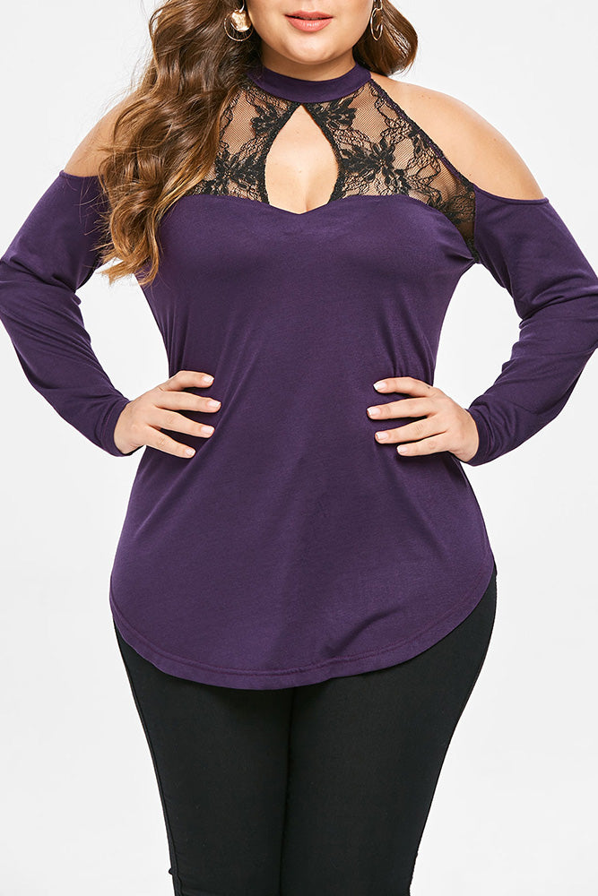 Plus Size Lace Choker Off Shoulder Long Sleeve Top