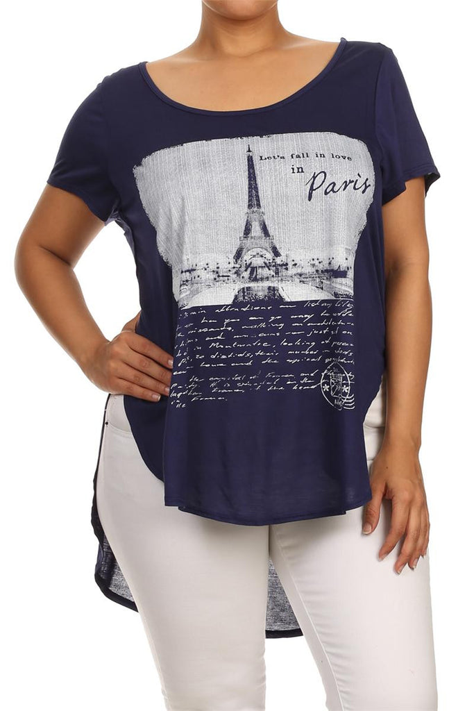 Plus Size Let's Fall In Love In Paris Graphic Navy Blue Top