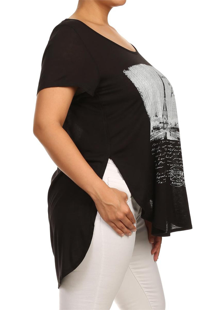 Plus Size Let's Fall In Love In Paris Graphic Black Top
