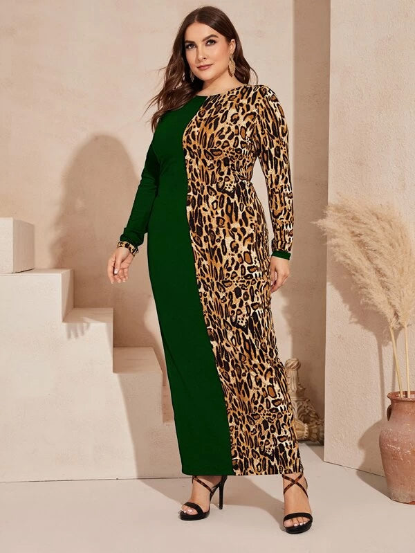 Plus Size Split Back Cut-and-sew Leopard Dress