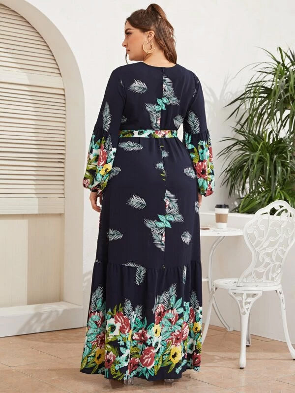 Plus Size Floral & Plants Print Belted Dress