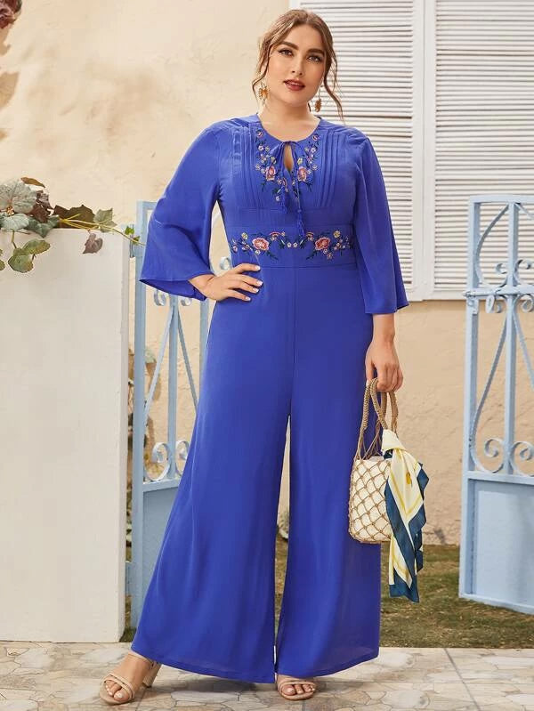 Plus Size Tassel Tie Neck Embroidered Floral Wide Leg Jumpsuit
