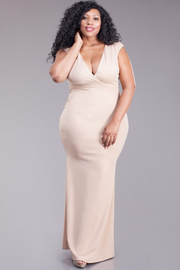 Lavish Plunging Neckline Plus Size Maxi Dress