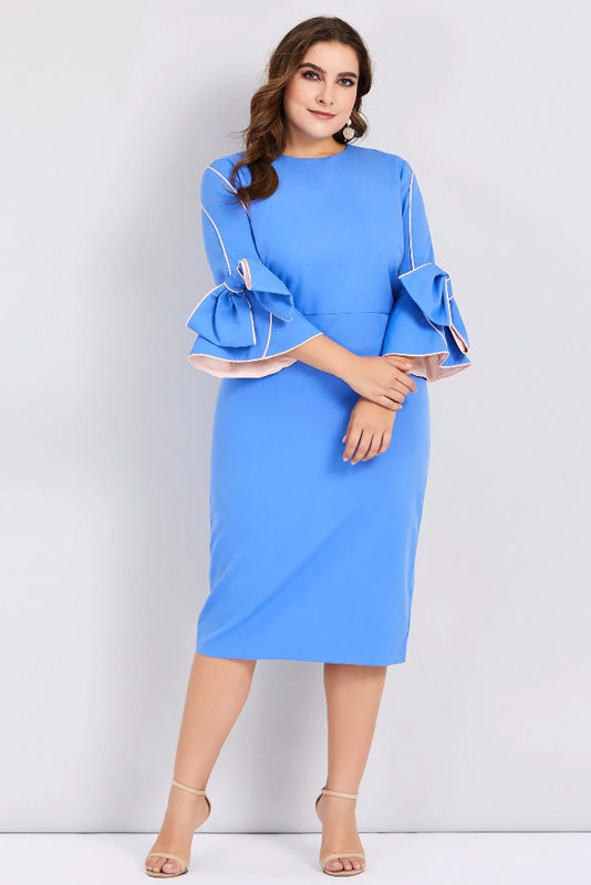 Plus Size Solid Zipper Bow Flare Sleeves Dress