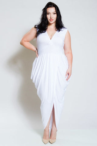 Plus Size Deep V Neck Slit Down Middle Cocktail Dress