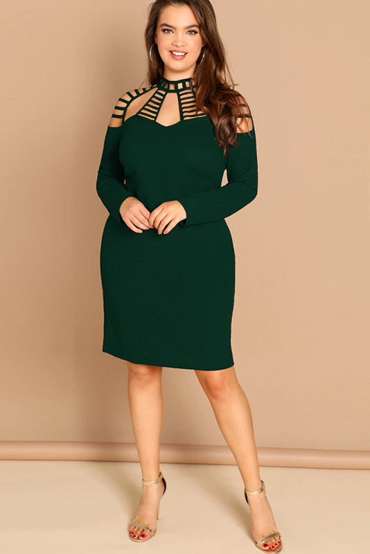 Plus Size Alluring Ladder Cut Out Yoke Dress