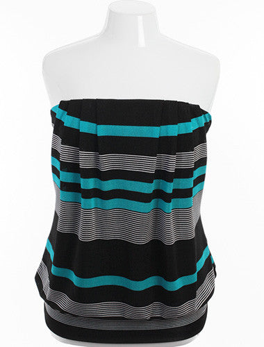 Plus Size Sexy Striped Teal Tube Top