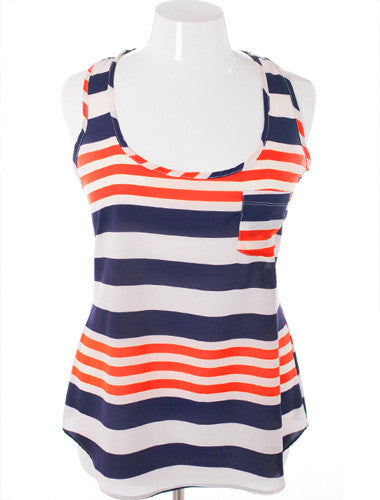 Plus Size Adorable Nautical Stripe Orange Tank