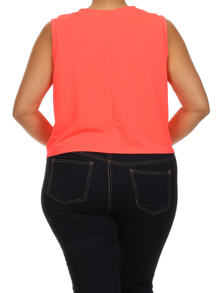 Plus Size Let's Travel The World Coral Tank