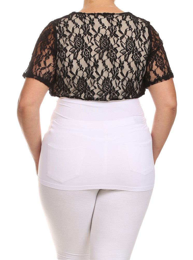 Plus Size Elegant See Through Black Bolero