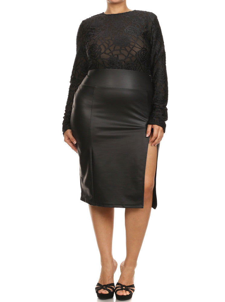 Plus Size See Through Rose Web Lace Leather Midi Dress