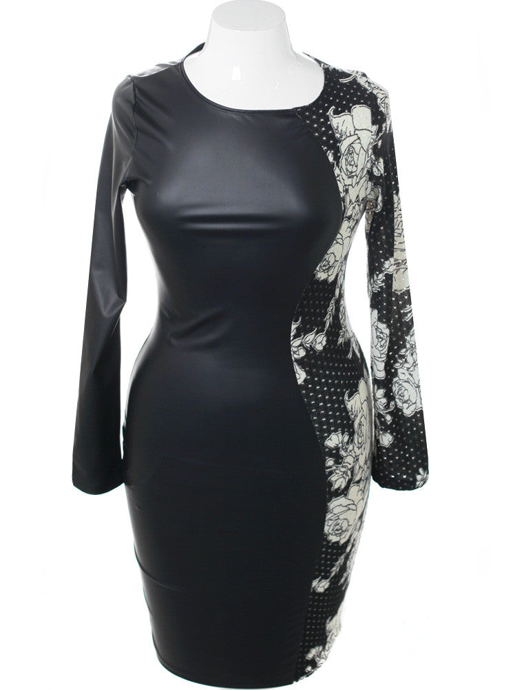 Plus Size Split Leather Floral Midi Dress