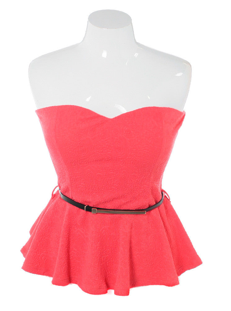 Plus Size Rose Textured Peplum Pink Top