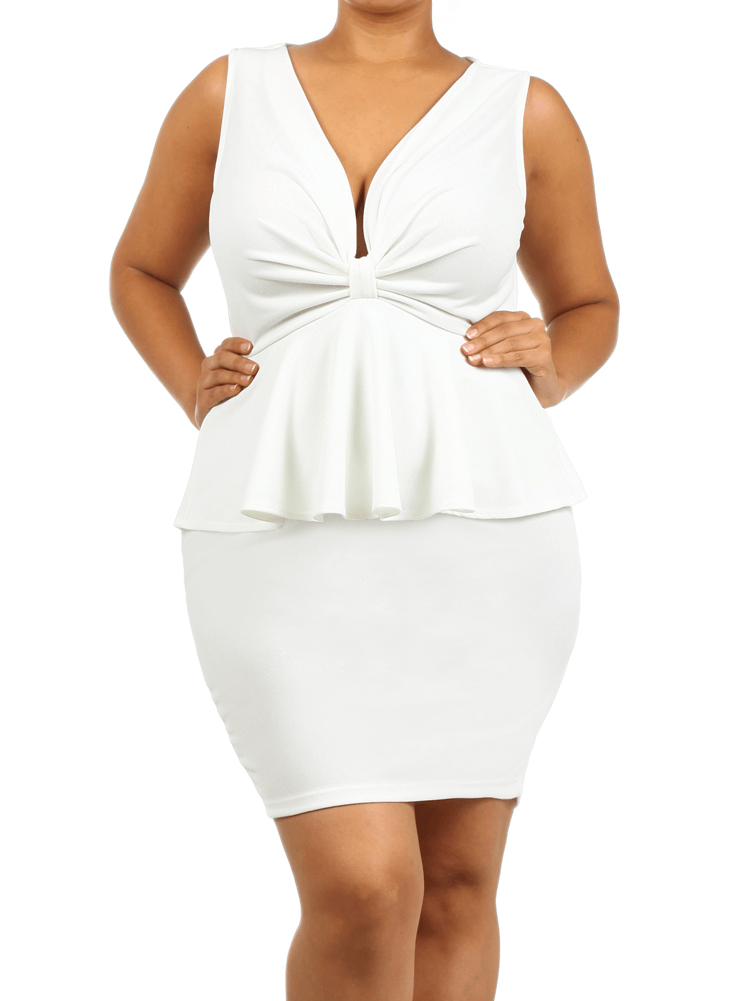 Plus Size Captivating Bow White Dress