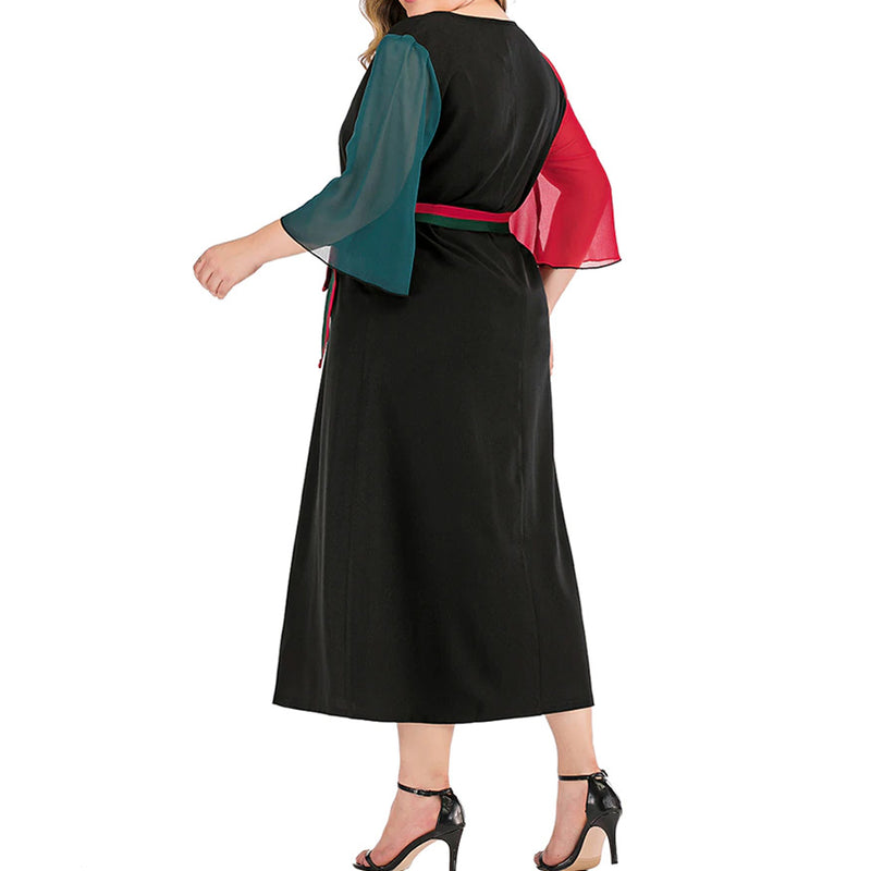 Plus Size Colorblock Loose Sleeve Belted Dress