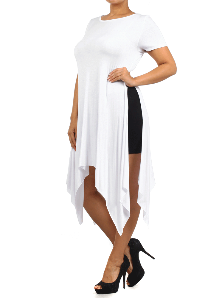 Plus Size Hanky Hem White Maxi Shirt Dress