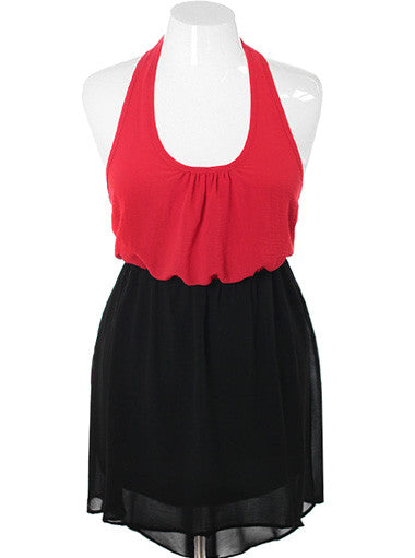 Plus Size Halter Bubble Top Red Dress