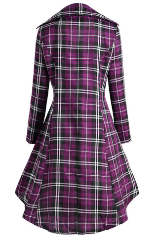 Plus Size Chic Double Breasted Plaid Wool High Low Overcoat