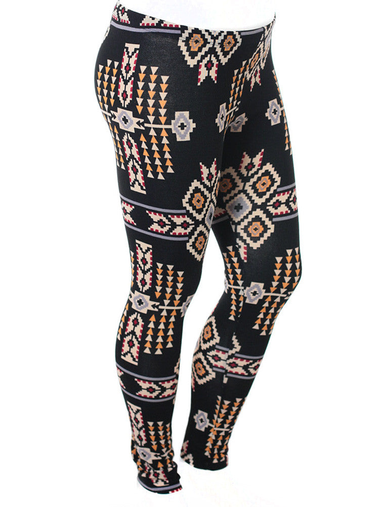 Plus Size Tribal Print Black Leggings