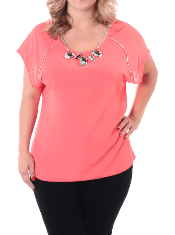 Plus Size Sheer Silver Glam Coral Blouse