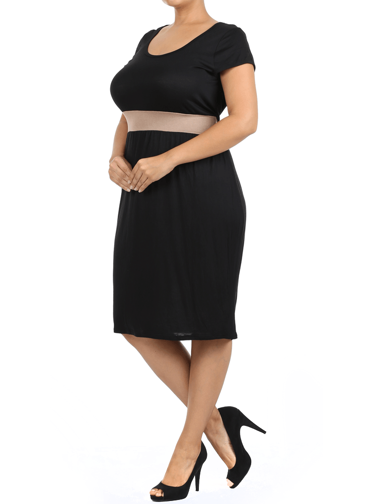 Plus Size Chic Contrast Waist Band Tan Midi Dress
