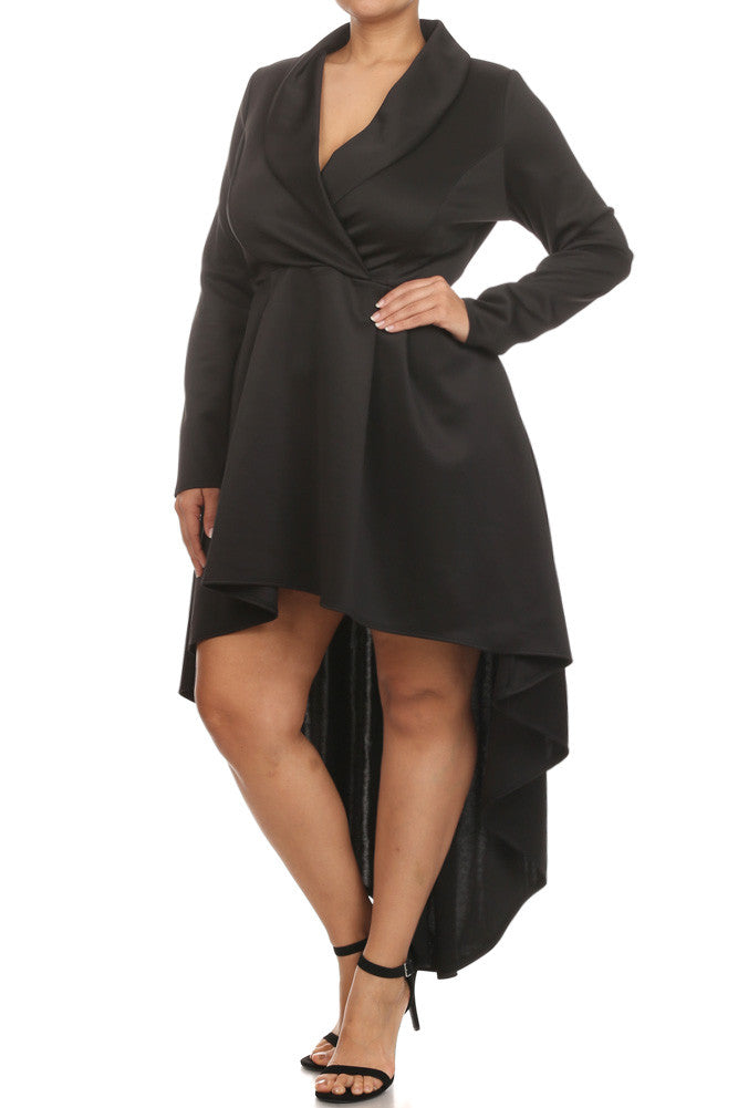 Plus Size Gala Surplice Neckline Long Sleeve Dress – Plussizefix