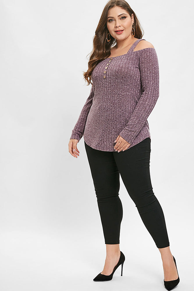 Plus Size Cozy Knit Off Shoulder Long Sleeve Top