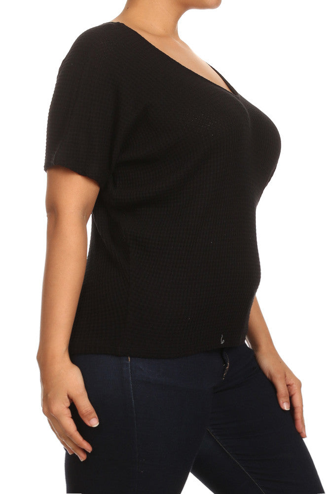 Plus Size Mod Basketweave Dolman Sleeves Top