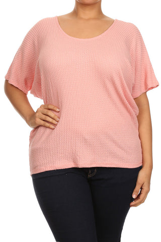 Plus Size Mod Basketweave Dolman Sleeves Top [SALE]