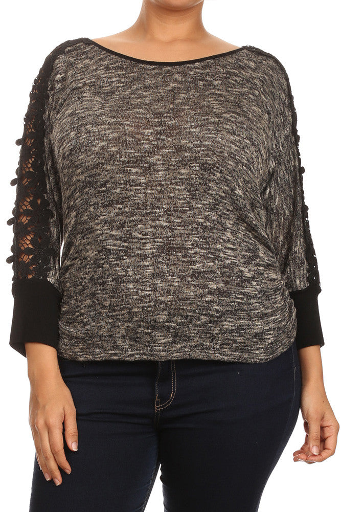 Plus Size Floral Crochet Sleeves Knit Top