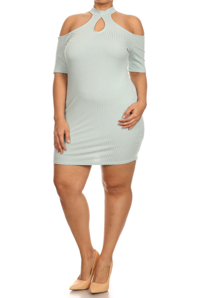 Plus Size High Neck Ribbed Cold Shoulder Bodycon