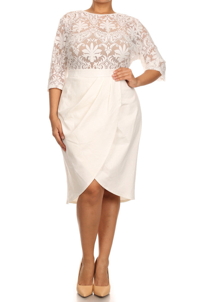 Plus Size Sweet Victorian Tulip Hem See Through Dress